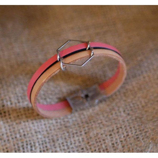 Bracelet pour femme duo de cuir Hexagone personnalisable