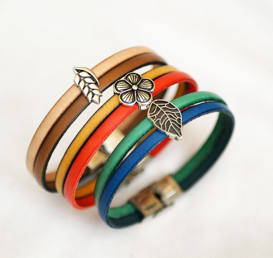 Bracelet pour femme duo de cuir et passant Feuille argenté personnalisable