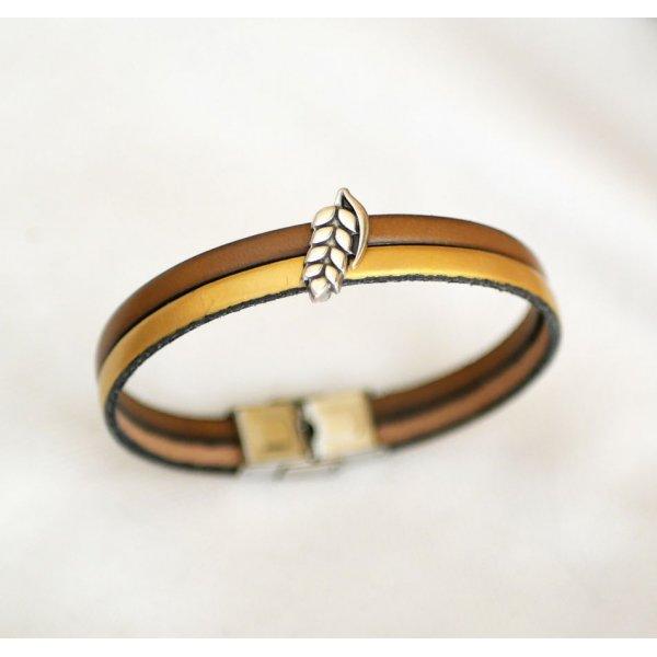 Bracelet pour femme duo de cuir et passant Epis de blé personnalisable
