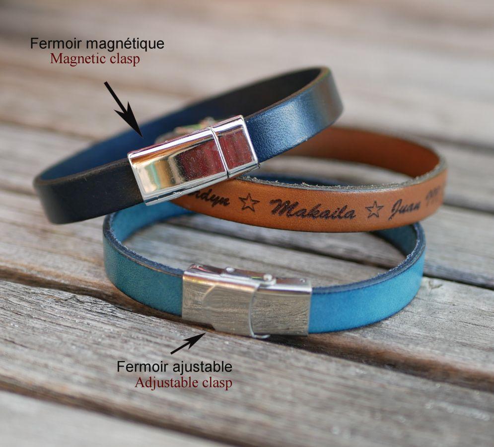 Bracelet pour fille cuir et charme papillon personnalisable