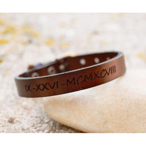 Bracelet Homme en cuir Marron foncé boucle argent à graver