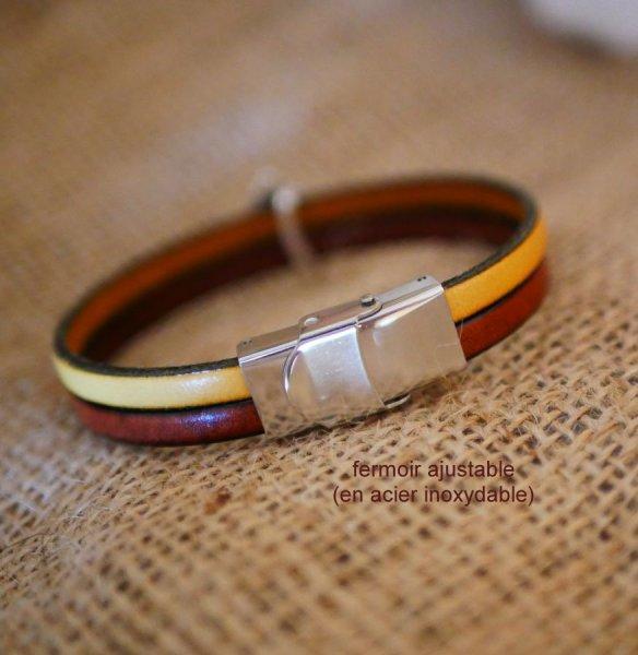 Bracelet duo de cuir et passant Epis de blé personnalisable, noces de blé homme et femme