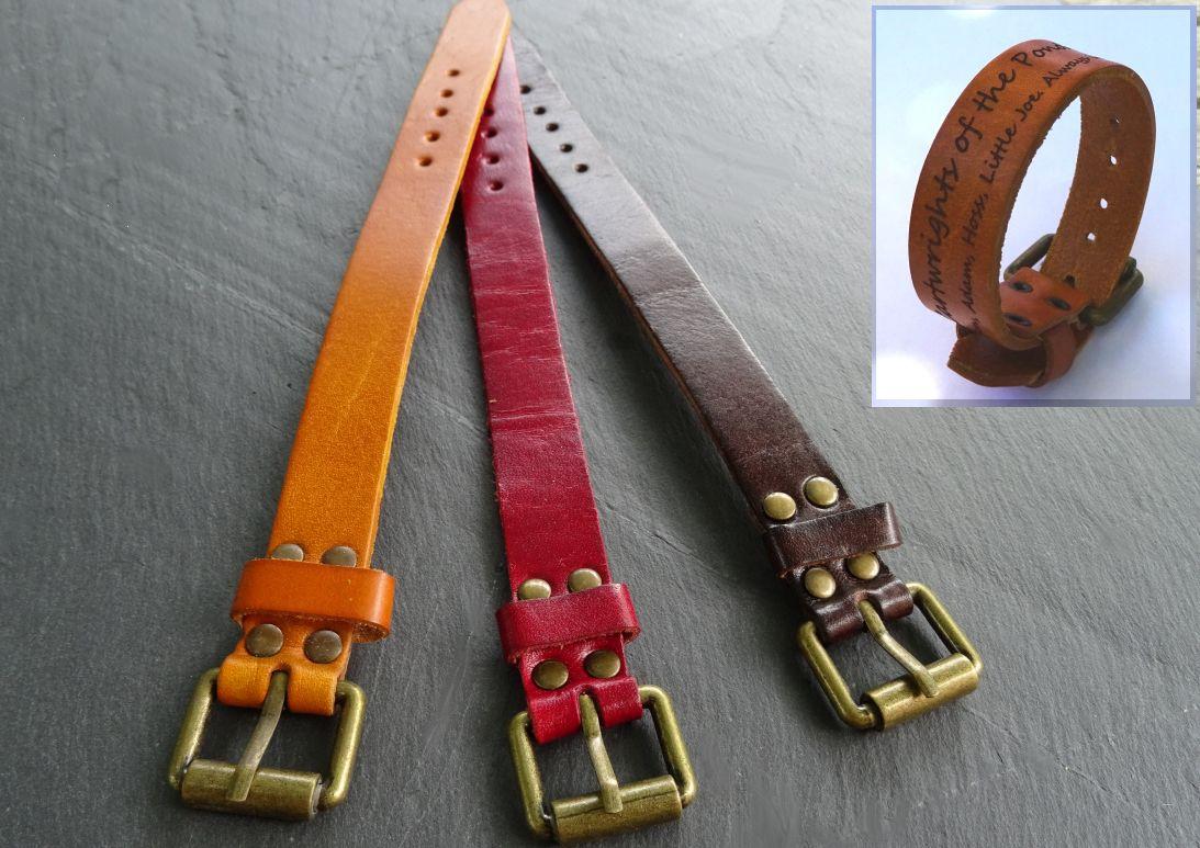 Bracelet large en cuir gravé personnalisé