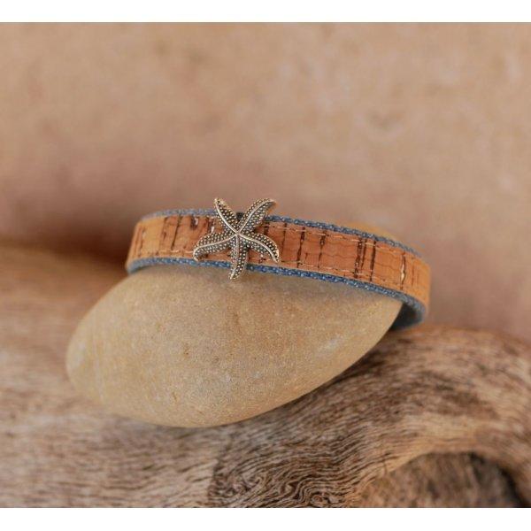 Bracelet liège & jean's étoile de mer