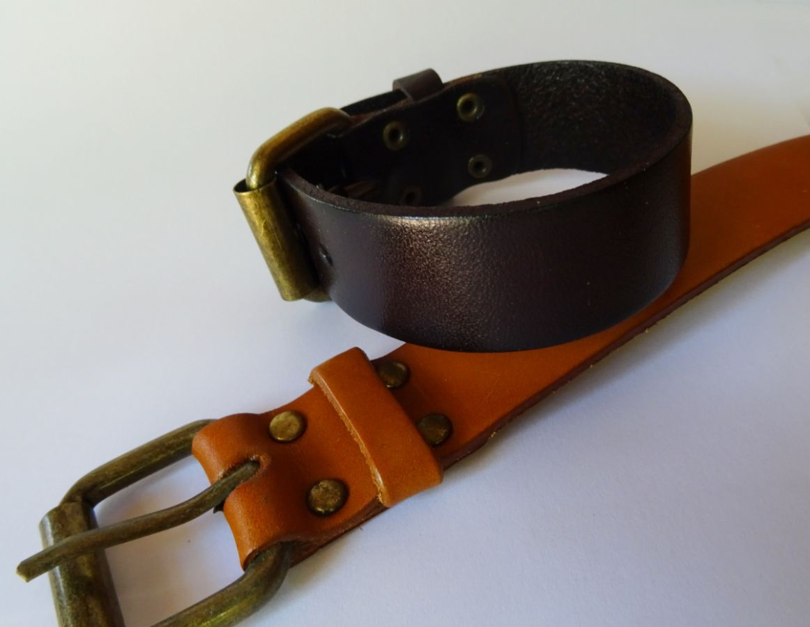 Bracelet manchette homme en cuir