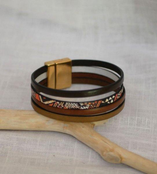 Bracelet manchette multi cuir ethnique africain personnalisable