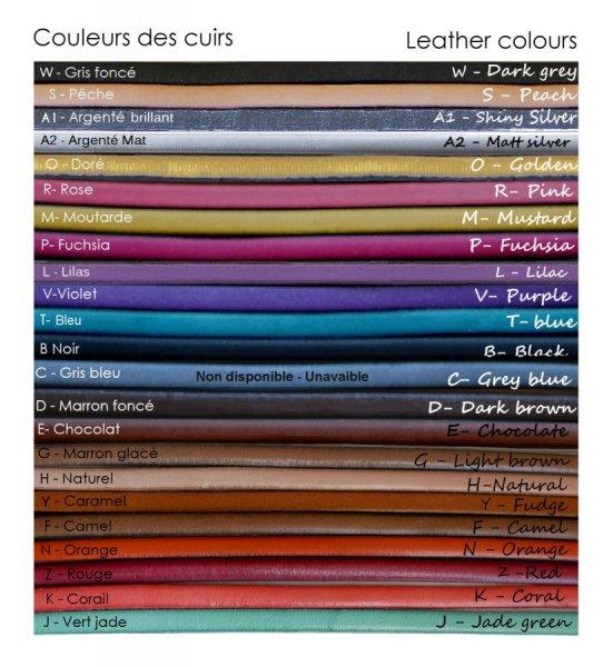 Bracelet manchette à personnaliser couleurs des cuirs et message gravé