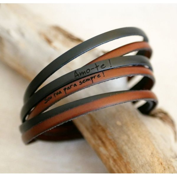 Bracelet à personnaliser en cuir triple tour en duo pour femme ou homme