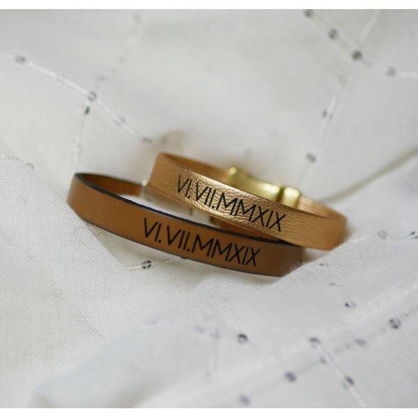 Cadeau pour couple : 2 bracelet cuir personnalisés par gravure