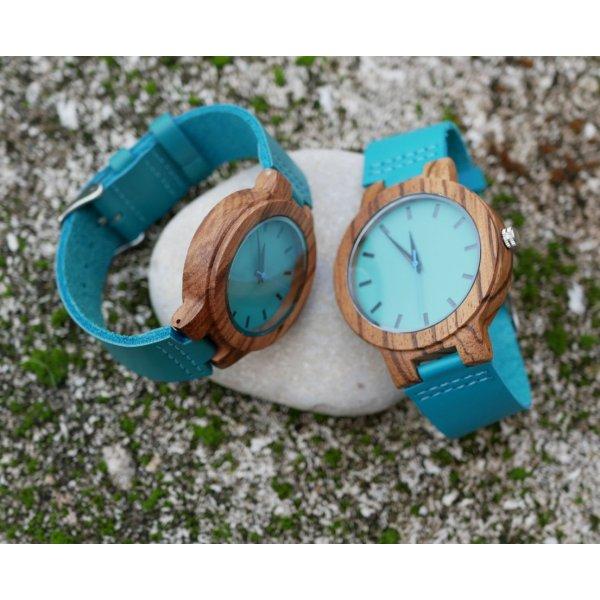 Cadeau couple montres bois et cuir turquoise à personnaliser