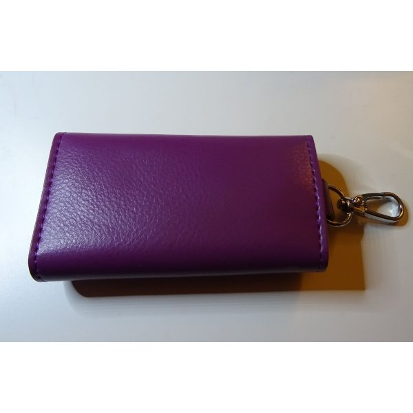 Etui porte clés en cuir Violet gravé