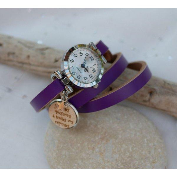 Montre argent bracelet cuir cabochon en bois à graver
