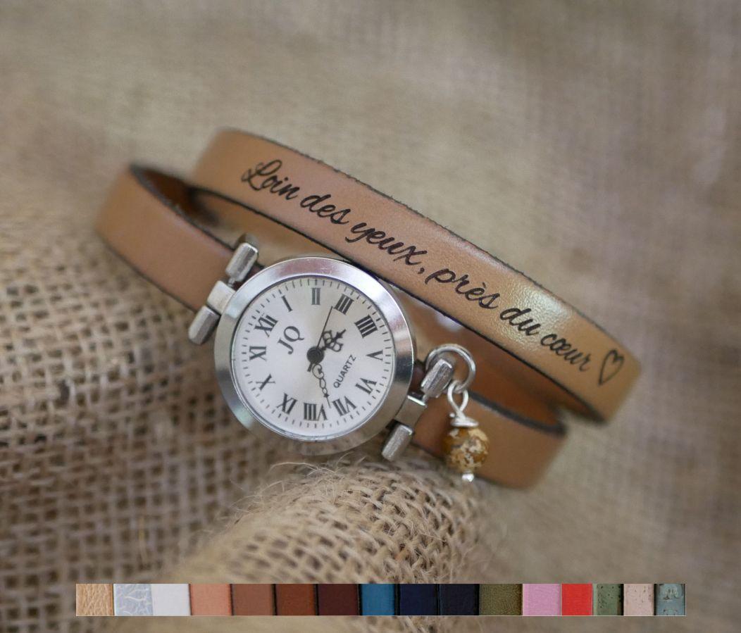 Montre argent bracelet cuir 2 tours fermoir ajustable