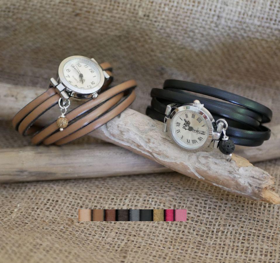 Montre argent bracelet multi tours en cuir fermoir ajustable