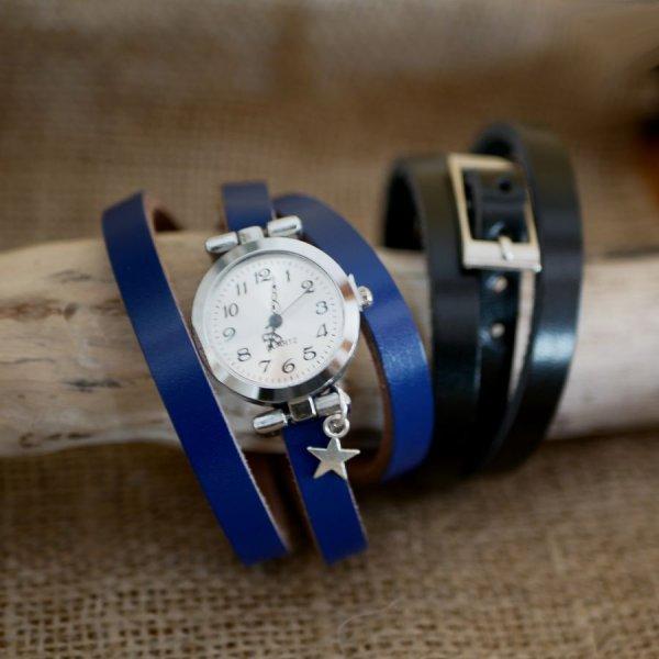 Montre argent bracelet triple tour en cuir avec charme à personnaliser