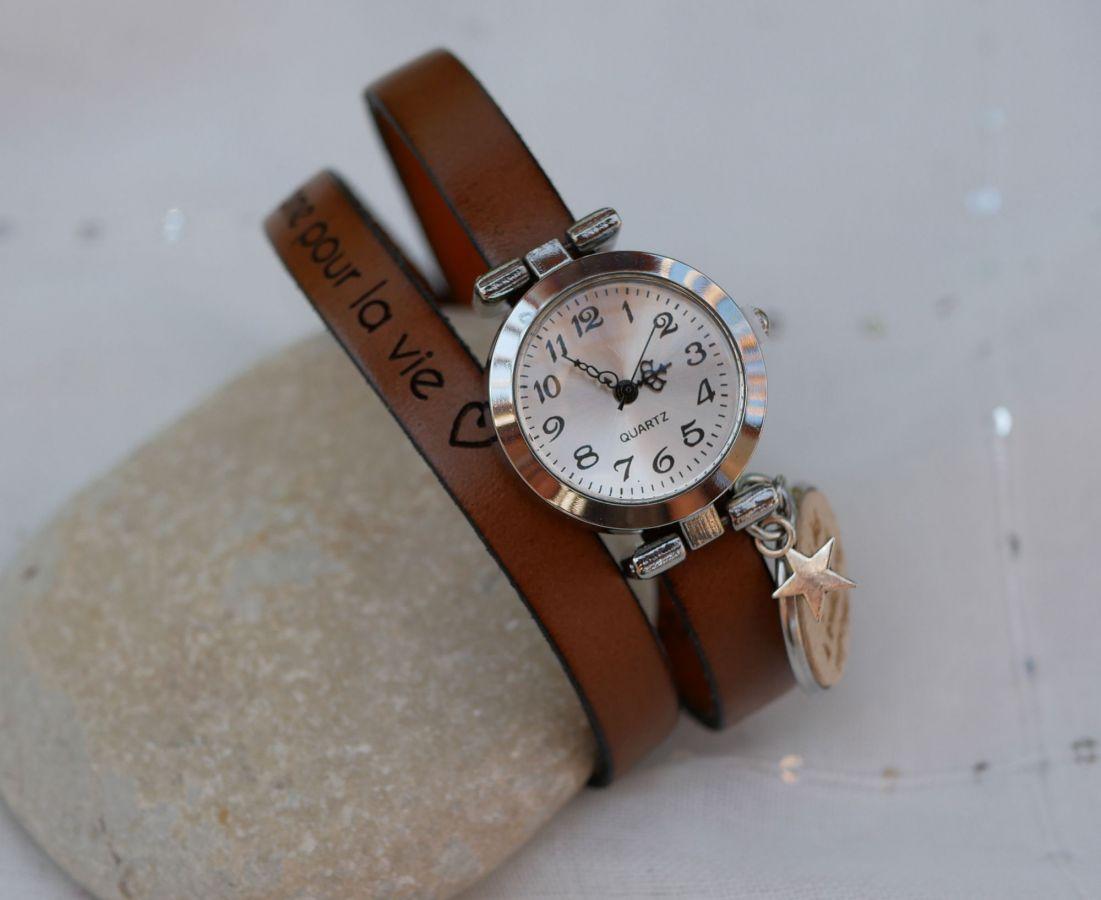 Montre argent double bracelet cuir ou liège Cabochon en bois à graver