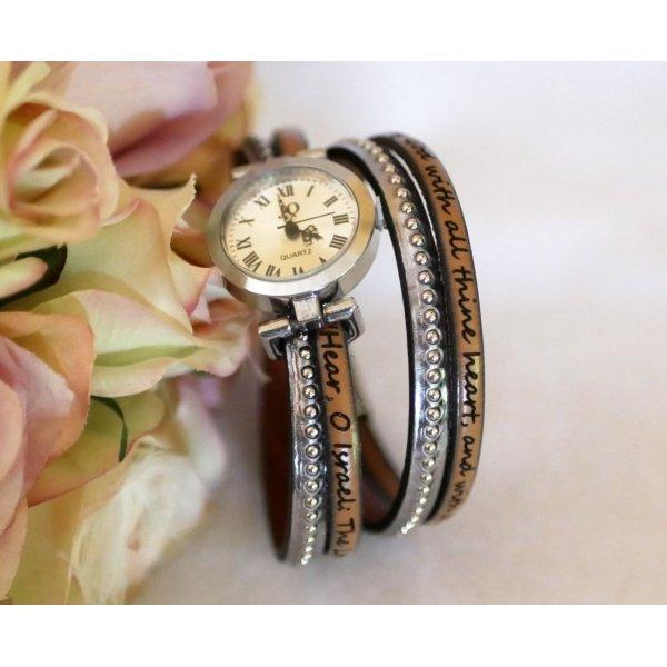 Montre argenté bracelet double cuir billes couleur au choix à personnaliser