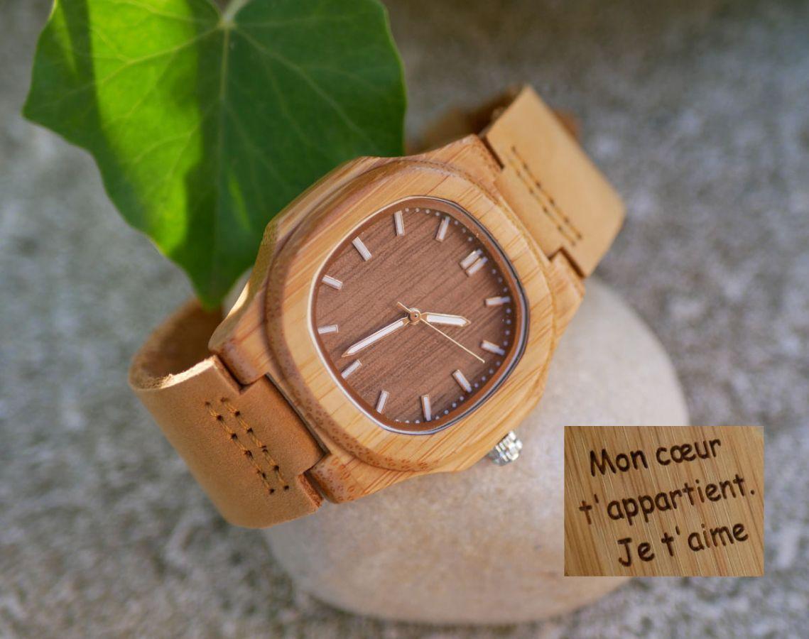Montre en bois bambou carrée à graver pour femme ou homme - cuir marron