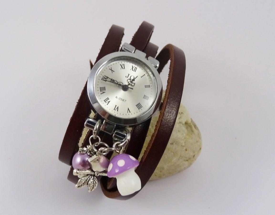 Montre bracelet Champignon mauve long bracelet cuir
