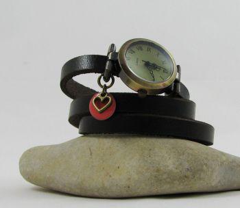 Montre bracelet Coeur et sequin corail