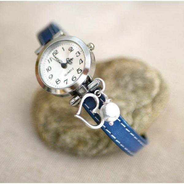 Montre bracelet cuir bleu surpîqûres blanches