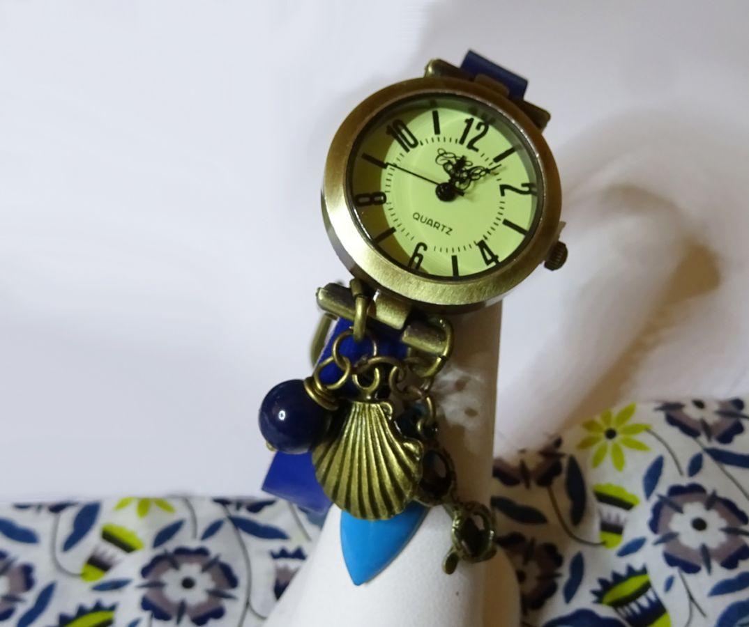 Montre bracelet cuir bleu