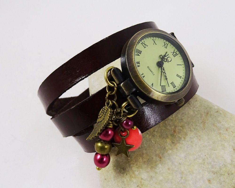 Montre bracelet cuir breloques Grenadine