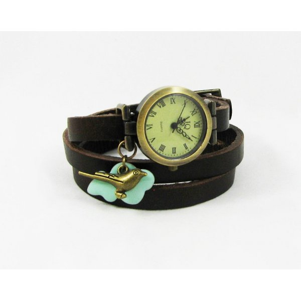 Montre bracelet cuir breloques Oiseau et Nuage