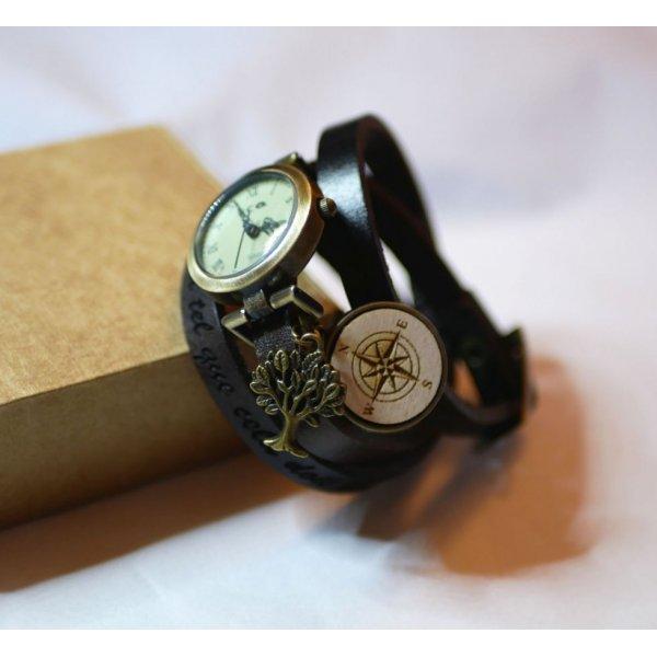Montre bracelet cuir cabochon en bois à graver