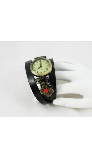 Montre bracelet cuir Cartes rouge et noir
