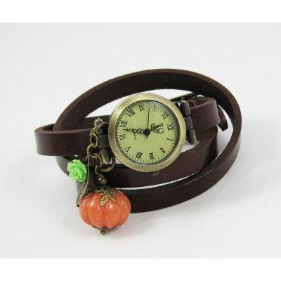 Montre bracelet cuir Citrouille d'Automne
