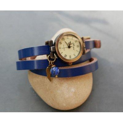 Montre bracelet cuir perle Lapis azuli