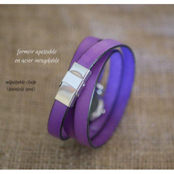 Montre bracelet en cuir Lilas 2 ou 3 tours avec pompon