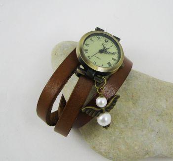 Montre bracelet cuir ange blancen perles