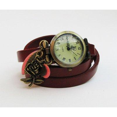 Montre bracelet cuir rouge sequins corail