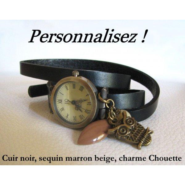 Montre bracelet cuir 3 tours  à personnaliser