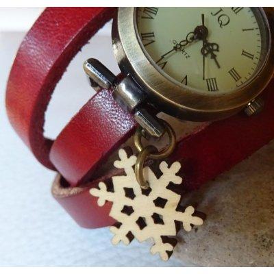 Montre bracelet cuir 3 tours Flocon bois