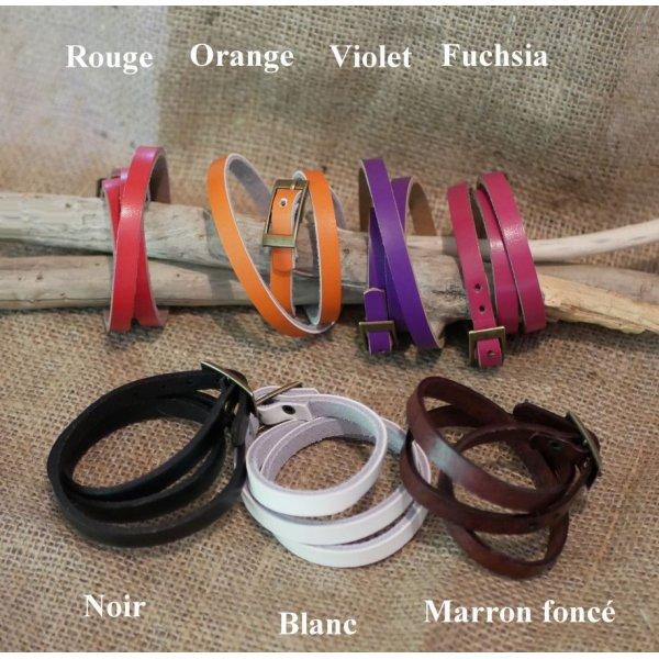 Montre bracelet cuir 2 tours cadran argenté