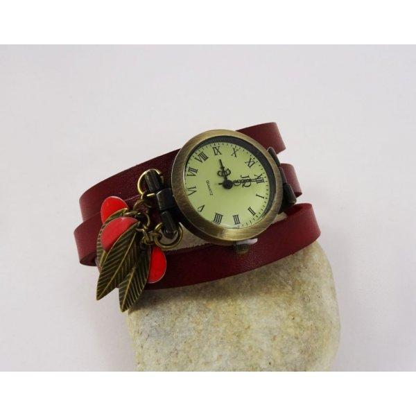Montre bracelet cuir 3 tours Sequins et feuilles rouges