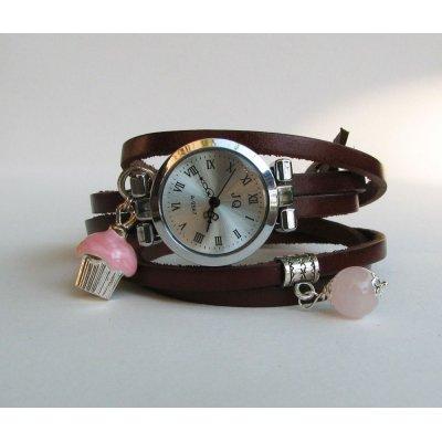 Montre bracelet cuir 5 tours décor gourmand