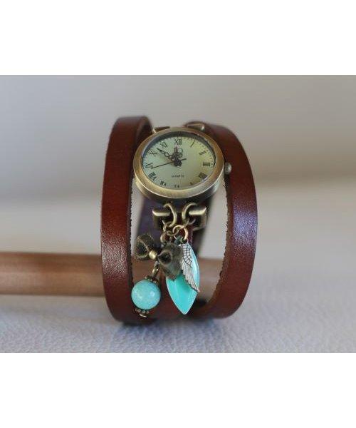 Montre bracelet cuir 3 tours pendentifs Turquoise