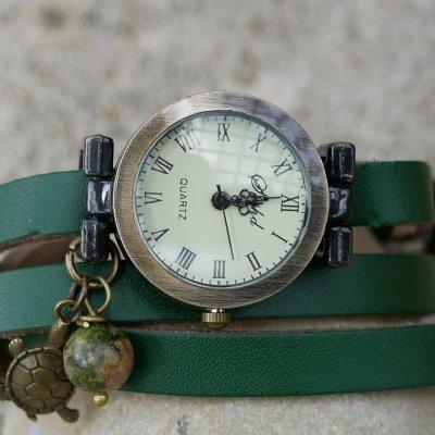 Montre bracelet cuir vert perle Unakite et tortue