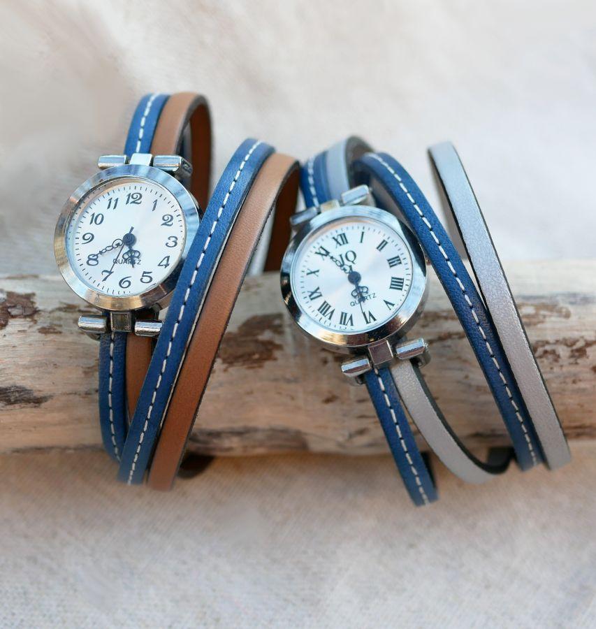 Montre bracelet double cuir surpiqûres Bleu et seconde couleur au choix à personnaliser