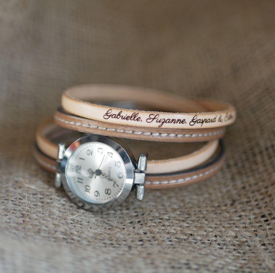 Montre bracelet double cuir surpiqûres couleur au choix à personnaliser