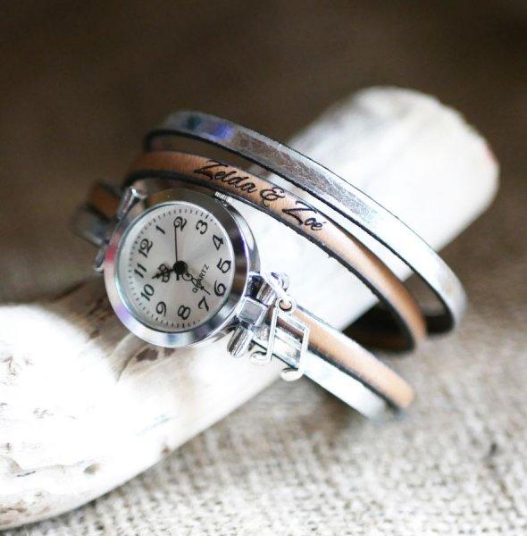 Montre bracelet double cuir cadran argenté couleur au choix à personnaliser