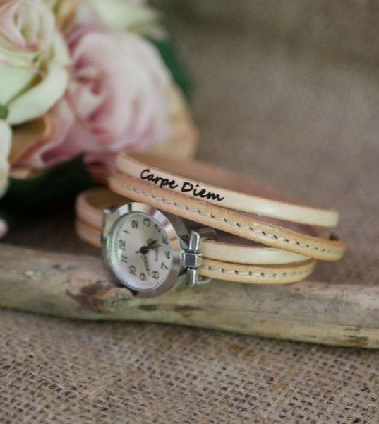 Montre bracelet double cuir surpiqûres Naturel et seconde couleur au choix à personnaliser