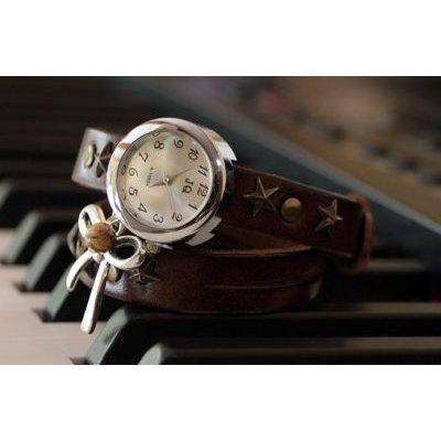 Montre bracelet double cuir Marron et Noeud