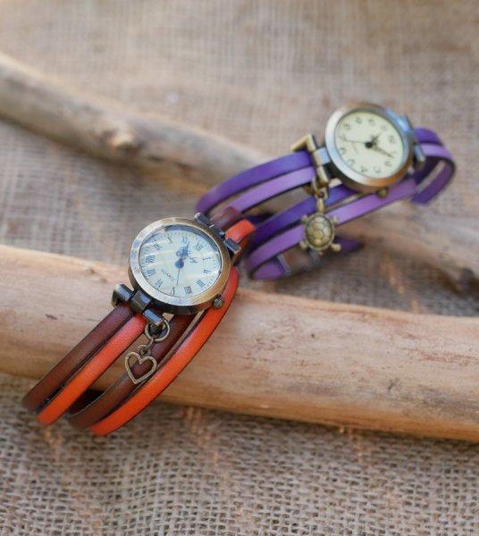 Montre bracelet double tour en cuir duo de couleurs