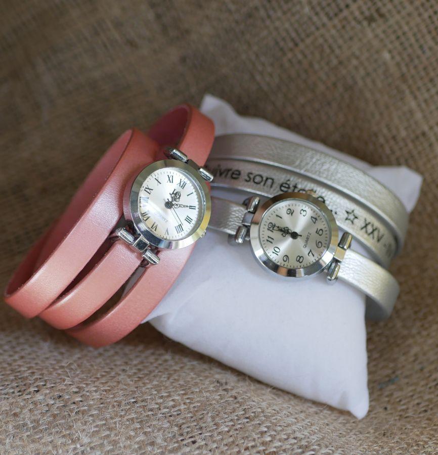 Montre bracelet multi tour personnalisable au cadran argenté