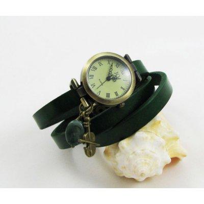 Montre bracelet cuir vert et violon